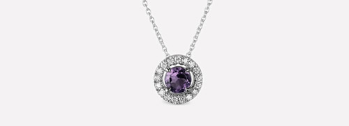 Purple Amethyst Diamond Pendant