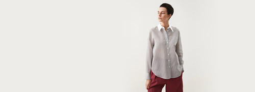 Cotton and Silk Striped Gauze Shirt