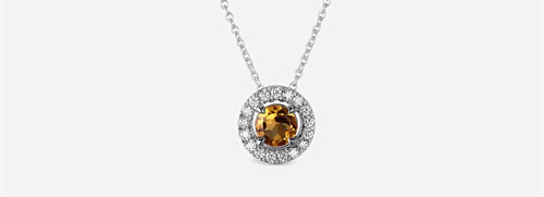 Yellow Citrine diamond Pendant