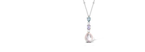 Pearl Pendant with Aquamarine and Diamond